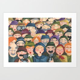 I can see you - Illustration of people watching you. Art Print