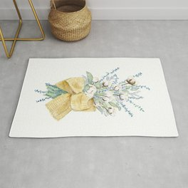 Cotton and Flower Bouquet Watercolor by Liz Ligeti Kepler Rug