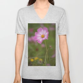 Pink and White Cosmos Unisex V-Neck