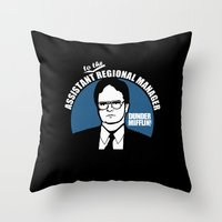 dwight Throw Pillows featuring Dwight Schrute logo by Buby87