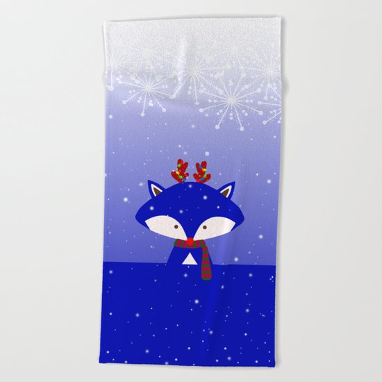 Foxy Likes Blue Beach Towel
