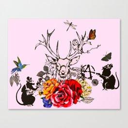 Deer Graffiti Canvas Print