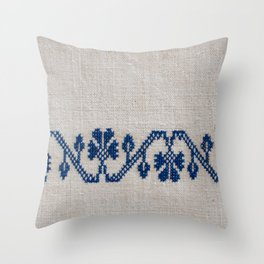 cross-stitch border Throw Pillow