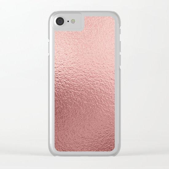 Rose quartz- pink metal foil backround Clear iPhone Case