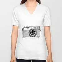 camera V-neck T-shirts featuring Camera by Adam Lindfors