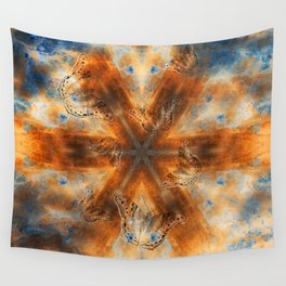 Surreal butterflies on corrugated iron mandala Wall Tapestry