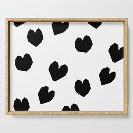 Love Yourself no.2 - black heart pattern love art black and white illustration Serving Tray