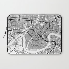 New Orleans Map White Laptop Sleeve