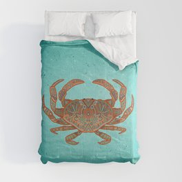 Patterned crab - aqua, red Comforters