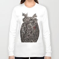 greg guillemin Long Sleeve T-shirts featuring Owl Abstract by Greg Phillips by SquirrelSix