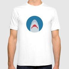 Shark Attack MEDIUM Mens Fitted Tee White