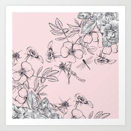 Floral vector rose illustration in vintage style Art Print