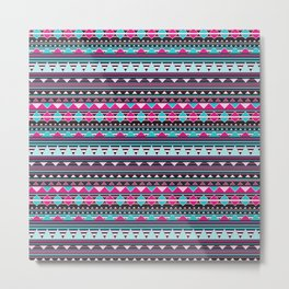 Aztec Stripes by Everett Co Metal Print