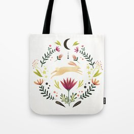 Floral Rabbit Pattern Tote Bag