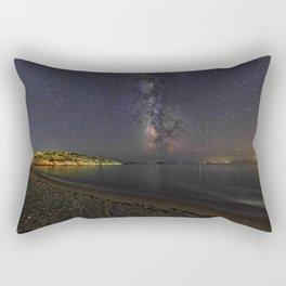 Agios Petros beach at night under the Milky Way in Andros, Greece Rectangular Pillow
