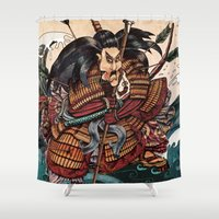 samurai Shower Curtains featuring Samurai by RICHMOND ART STUDIO