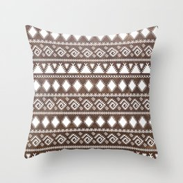 Vintage rustic brown leather white tribal pattern Throw Pillow