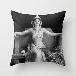 Mata Hari, Famous French Dancer and Femme fatale black and white photograph / black and white photography Throw Pillow