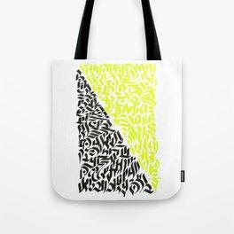 black and yellow calligraffiti pattern Tote Bag
