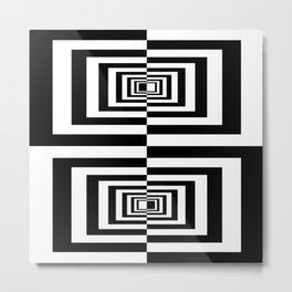 Black And White Geometric Abstract Patten Metal Print