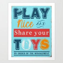 Play Nice & Share your Toys Subway Art Print | Home Decor | Playroom | Kid's Room | Bright, Colorful Art Print