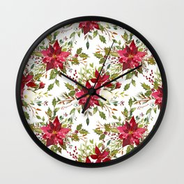 Watercolor pink green hand painted floral berries Wall Clock