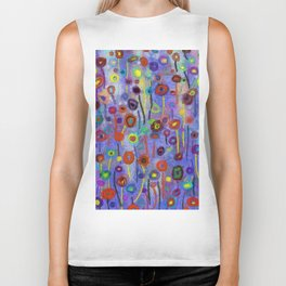 Abstract Flowers Wild Biker Tank
