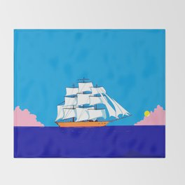 A Clipper Ship at Sunset, Pink clouds and Sun, Nautical Scene Throw Blanket