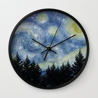 starry night Wall Clocks featuring Starry Night by Astrablink7