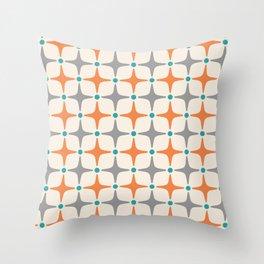 Mid Century Modern Star Pattern Grey and Orange Throw Pillow