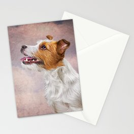 Jack Russell Terrier. Drawing, illustration funny dog Stationery Cards