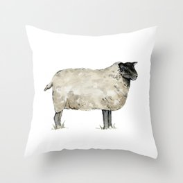 Sheep, Farmhouse Watercolor, Rustic Painting Throw Pillow
