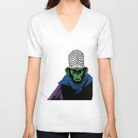 jojo V-neck T-shirts featuring Mojo Jojo by Miguel Villasanta