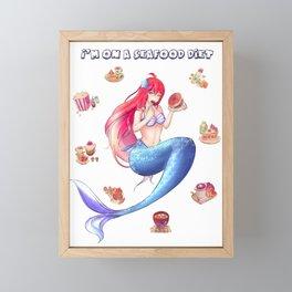 Anime Mermaid I am on sea food diet Illustration Framed Mini Art Print