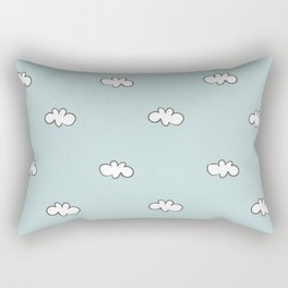 Blue background with small white clouds Rectangular Pillow