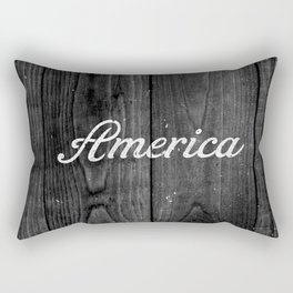 Black and White Patriotic Vintage America USA Wood Rectangular Pillow