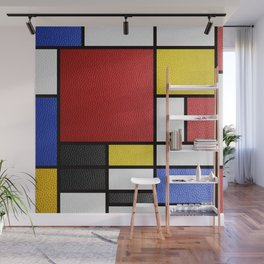 Mondrian in a Leather-Style Wall Mural