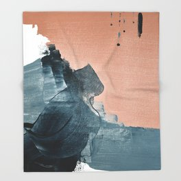 Renew: a minimal abstract piece in coral and blue by Alyssa Hamilton Art Throw Blanket