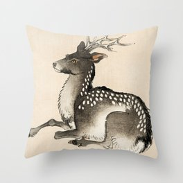 Elk Traditional Japanese Wildlife Throw Pillow
