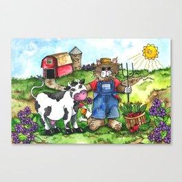 Farmer Fluffy at Harvest Time Canvas Print