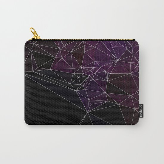 Polygonal purple, black and white Carry-All Pouch