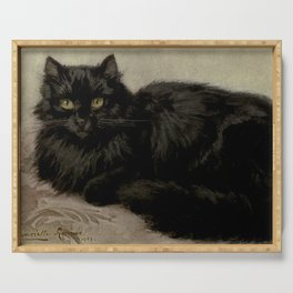 Vintage Painting of a Black Cat (1903) Serving Tray
