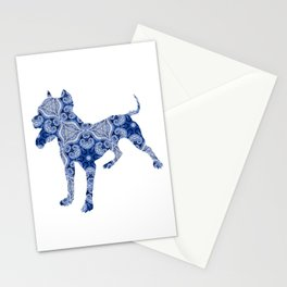 Paisley Dog No. 1 in Blue   Extra Large Stationery Cards
