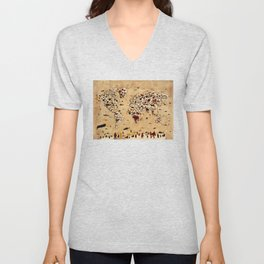 world map animals vintage Unisex V-Neck