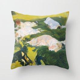 La Siesta by Joaquín Sorolla, 1911 Throw Pillow