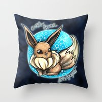 eevee Throw Pillows featuring 133- Eevee by Lyxy
