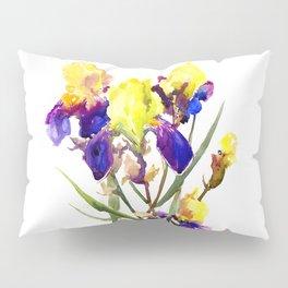 Garden Iris Floral Artwork Yellow Purple Blue Floral design, bright colored floral design Pillow Sham