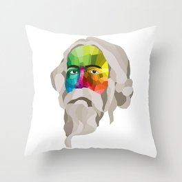Rabindranath Tagore - popart portrait Throw Pillow