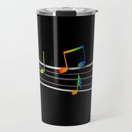 Rainbow Music Notes on Black Travel Mug