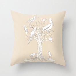 beige tree with birds Throw Pillow